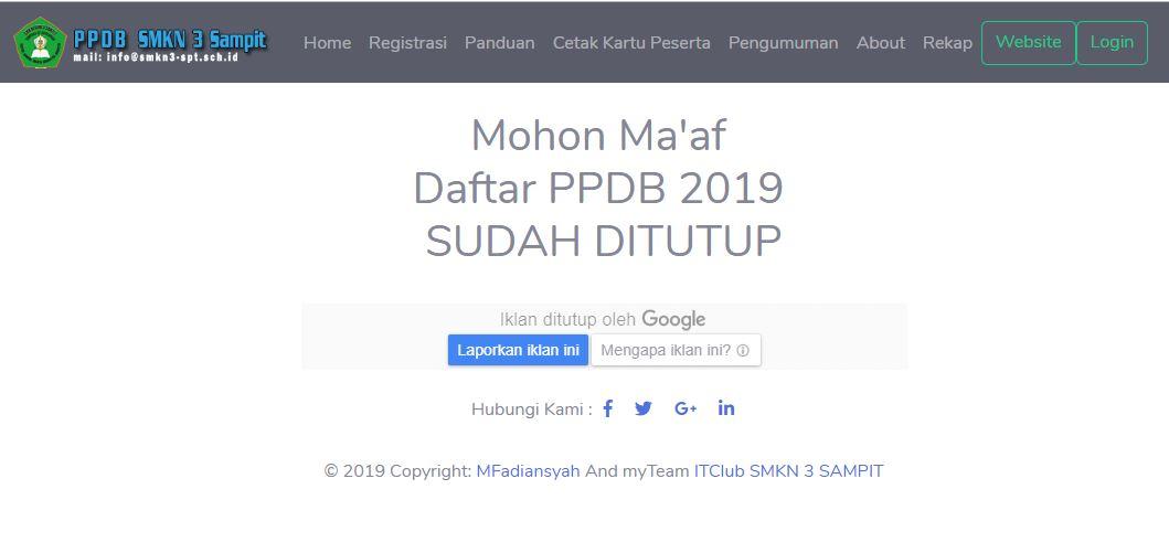 Daftar PPDB 2019 diSMKN 3 Sampit Sudah Ditutup